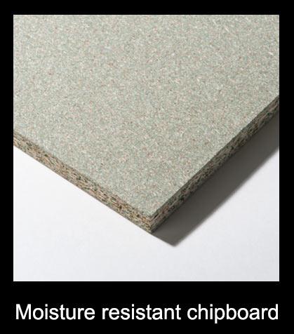 Moisture resistant chipboard